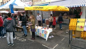 Aidan and Rachel on the stall at Deptford Market